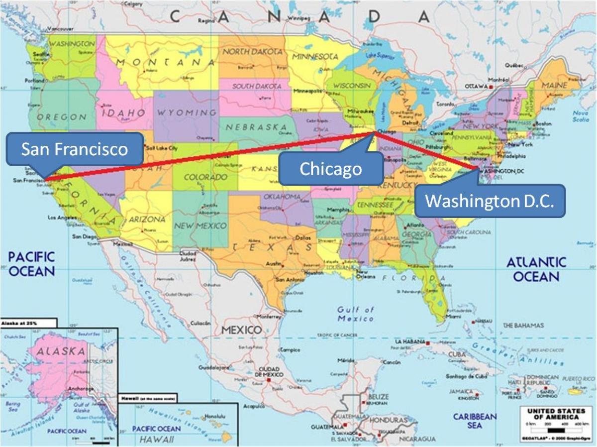 Chicago no mapa de estados unidos  Chicago en EUA mapa Estados